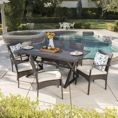 Neville 7 Piece Dining Set with Cushions