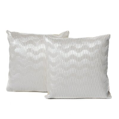 Everdeen Faux Leather Throw Pillow Color: White