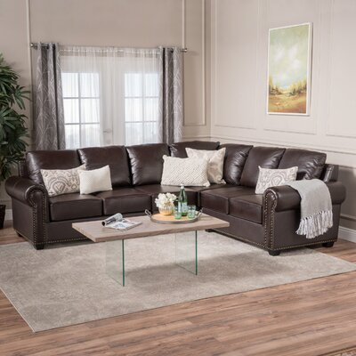 Kerry Leather Sectional Upholstery: Brown