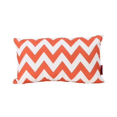 Mayhew Rectangular Outdoor Lumbar Pillow Color: Orange/White