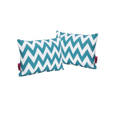 Swigart Rectangular Indoor/Outdoor Lumbar Pillow Color: Dark Teal/White