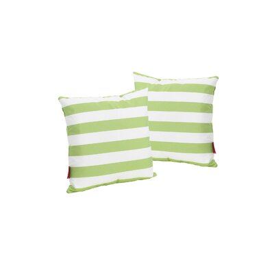 Mayle Square Striped Indoor/Outdoor Throw Pillow Color: Green