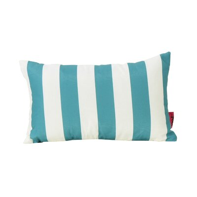 Mayne Rectangular Striped Outdoor Lumbar Pillow Color: Dark Teal and White