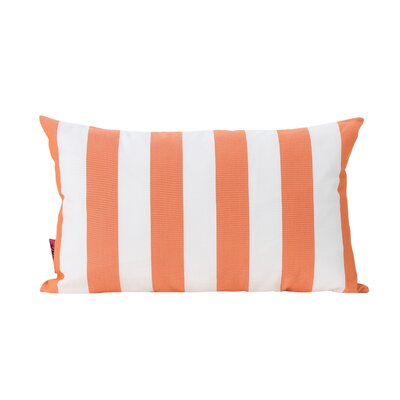 Mayne Rectangular Striped Outdoor Lumbar Pillow Color: Orange and White
