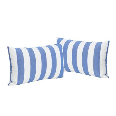 Mayne Rectangular Striped Outdoor Lumbar Pillow Color: Blue/White