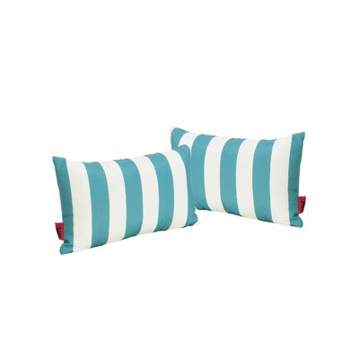 Mayne Rectangular Striped Outdoor Lumbar Pillow Color: Dark Teal/White