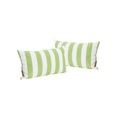 Mayne Rectangular Striped Outdoor Lumbar Pillow Color: Green/White