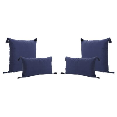 Coulter Tasseled Outdoor Pillow Color: Dark Blue