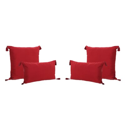 Coulter Tasseled Outdoor Pillow Color: Red