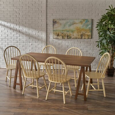 Sims 7 Piece Dining Set Finish: Walnut