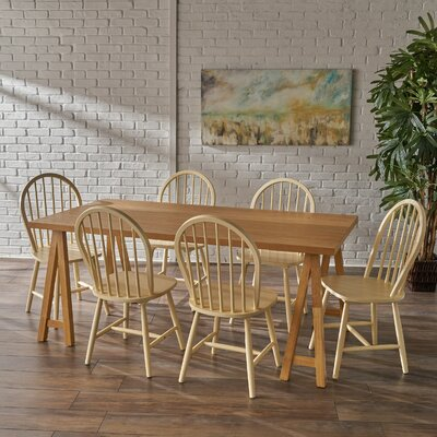 Sims 7 Piece Dining Set Finish: Oak