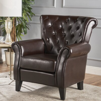 Prague Tufted Club Chair Upholstery: Brown Bonded Leather