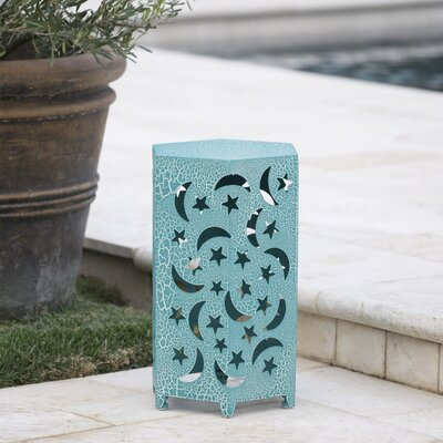 Dye Outdoor Hexagonal End Table Color: Teal, Size: 22 H x 14.25 W x 12.5 D