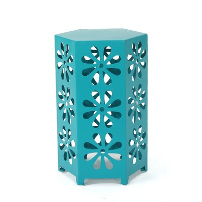 Juengel Outdoor 12 Inch Hexagonal Side Table Color: Teal