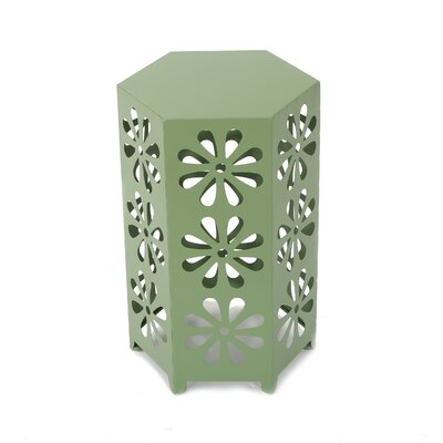 Juengel Outdoor 12 Inch Hexagonal Side Table Color: Green