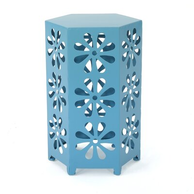 Juengel Outdoor 12 Inch Hexagonal Side Table Color: Blue