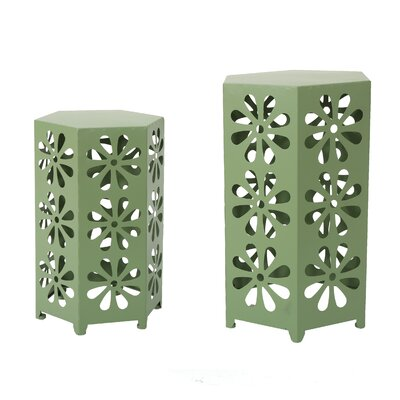 Juengel 2 Piece Outdoor Iron Hexagonal Nesting Table Set