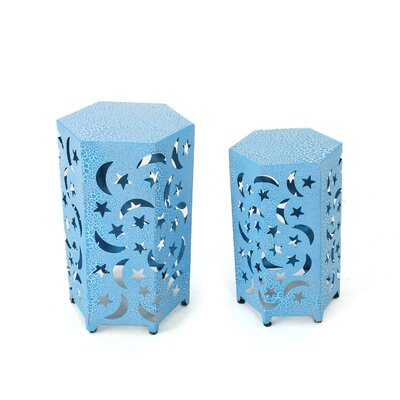 Jayakumar 2 Piece Iron Hexagonal Nesting Table Set Color: Blue
