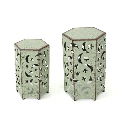 Jayakumar 2 Piece Iron Hexagonal Nesting Table Set Color: Green