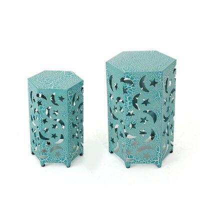 Jayakumar 2 Piece Iron Hexagonal Nesting Table Set Color: Teal