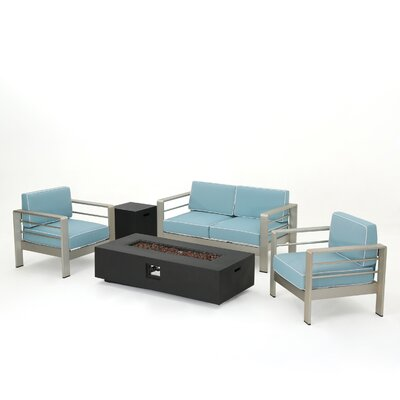 Wade Logan Berryville 5 Piece Aluminum Conversation Set with Cushions Color: Dark Gray
