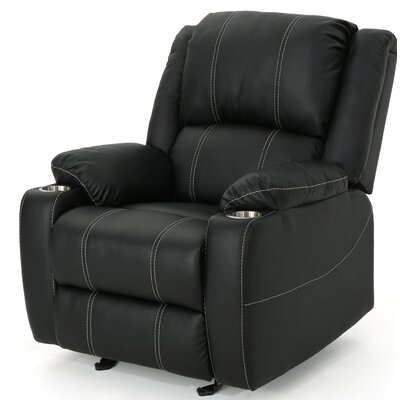 Hornick Traditional Manual Glider Recliner Upholstery: Black