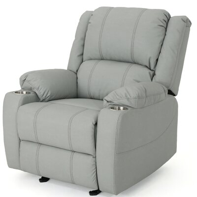 Hornick Traditional Manual Glider Recliner Upholstery: Light Gray