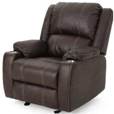 Hornick Traditional Manual Glider Recliner Upholstery: Dark Brown