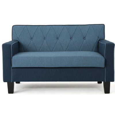 Peiffer Button Stitch Loveseat Upholstery: Navy Blue/Blue