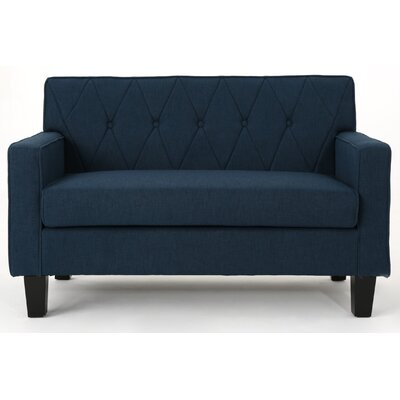 Peiffer Button Stitch Loveseat Upholstery: Navy Blue