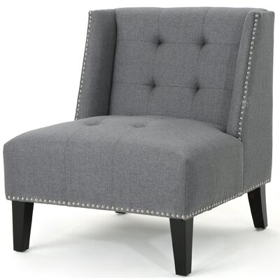 Friar Tufted Wingback Chair Upholstery: Dark Gray