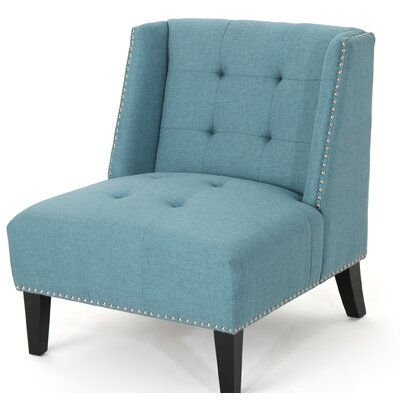Friar Tufted Wingback Chair Upholstery: Blue