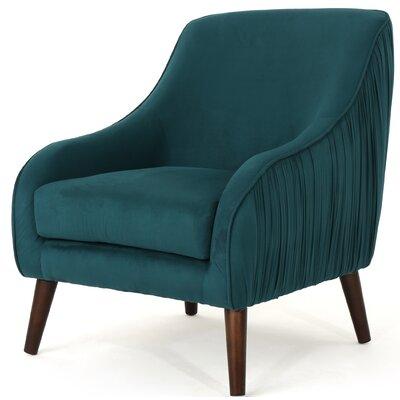 Duong Mid Century Modern Velvet Armchair Upholstery: Dark Green