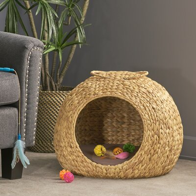 Alice Water Hyacinth Wicker Hooded Dog Bed with Fabric Cushion