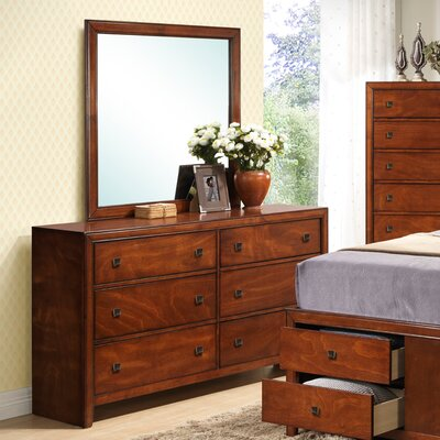 Hazelwood Home 6 Drawer Dresser with Mirror (2 Pieces)
