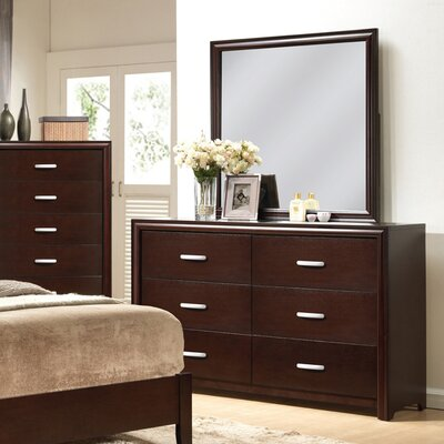 Hazelwood Home 6 Drawer Dresser with Mirror