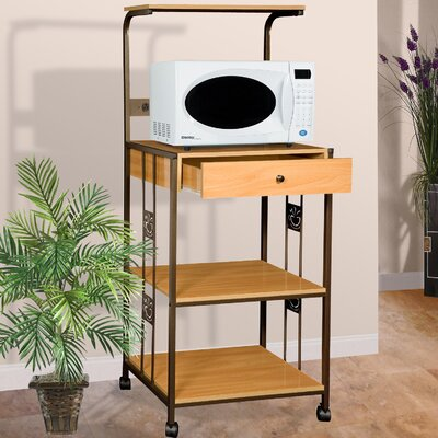 Microwave Cart with Wood Top I Base Finish: Beech