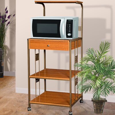 Microwave Cart with Wood Top I Base Finish: Cherry