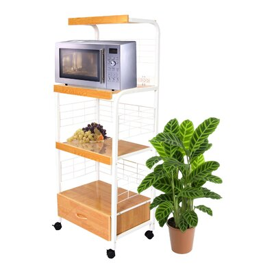 Microwave Cart with Wood Top Base Finish: White