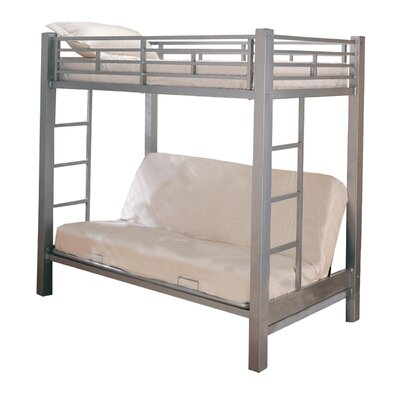 Ingenious Twin Bunk Bed with Built-In Ladder Finish: Silver