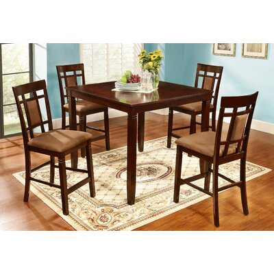 Homesource 5 Piece Counter Height Dining Set Finish Dark Cherry