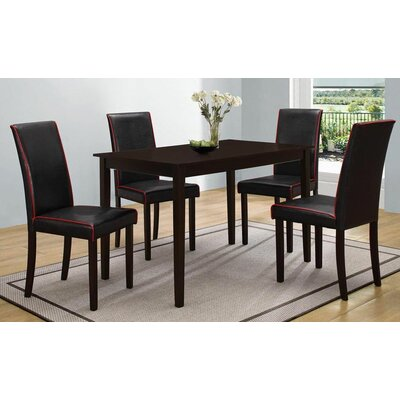5 Piece Dining Set Upholstery Black