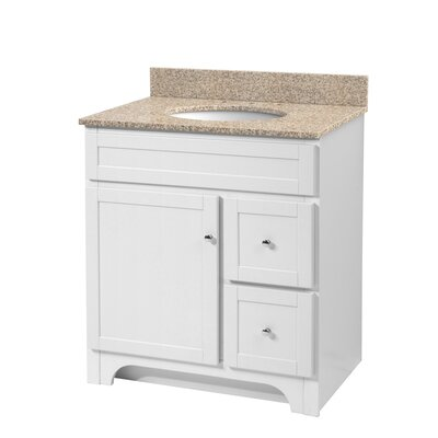 Deanfield 31 Single Bathroom Vanity Set Base Finish: White, Top Finish: Mohave Beige