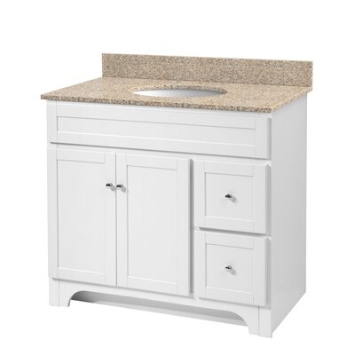 Deanfield 37 Single Bathroom Vanity Set Base Finish: White, Top Finish: Mohave Beige