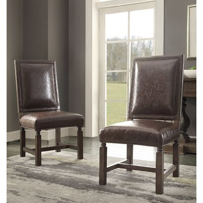 Distressed Upholstered Dining Chair Upholstery: Brown Leather
