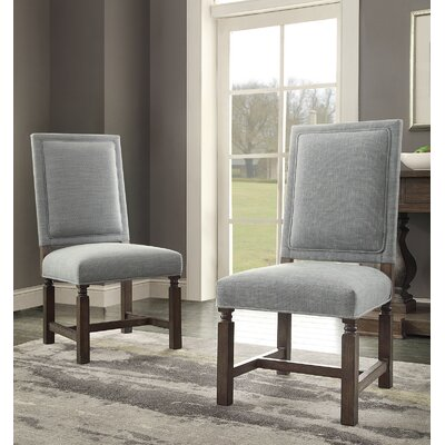 Distressed Upholstered Dining Chair Upholstery: Blue Linen