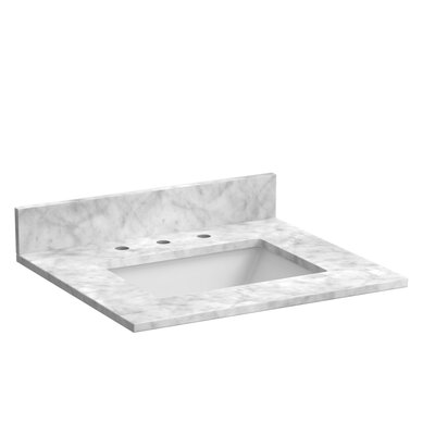 25 Single Bathroom Vanity Top Top Finish: Marble - Carrara White