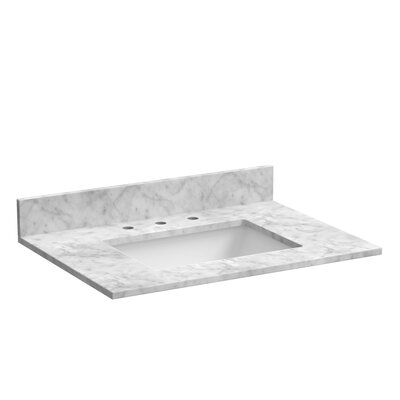31 Single Bathroom Vanity Top Top Finish: Marble - Carrara White