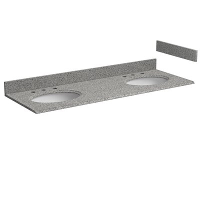 Granite 61 Double Bathroom Vanity Top Top Finish: Rushmore Gray