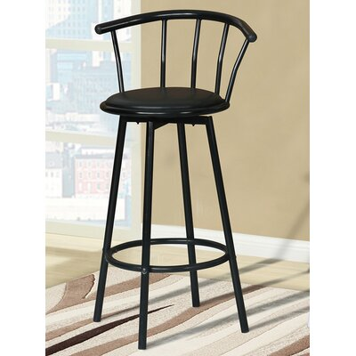 Swivel Bar Stool (Set of 4) Upholstery: Black